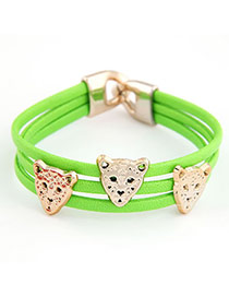 Piercing Green Leopard Design PU Korean Fashion Bracelet