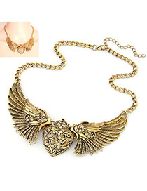 Masonic Bronze Wings Of Love Alloy Bib Necklaces