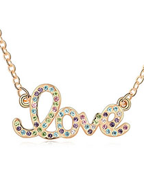 Expression Multicolor Champagne Champagne Love Design Crystal Crystal Necklaces