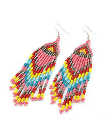 Fancy Multicolour Handmade Bead Tassels Design Beads Korean Earrings