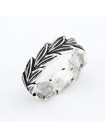 Locket Silver Color Leaf Alloy Korean Rings