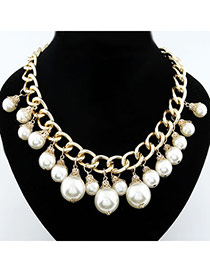 Diabetic Gold Color Pearl Pandent Alloy Bib Necklaces