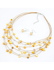 African light Yellow Shell Design Multilayer Alloy Jewelry Sets