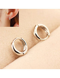 Circle Silver Color Sweet Simple Design Alloy Stud Earrings