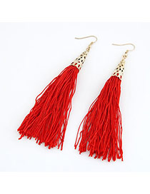 Gorgeous Red Elegant Tassels Design Alloy Korean Earrings