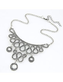 Lucky Black Wave Stepped Shape Alloy Bib Necklaces
