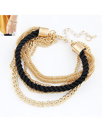 Famale Black Black Luxury Woven Mulitlayer Alloy Korean Fashion Bracelet