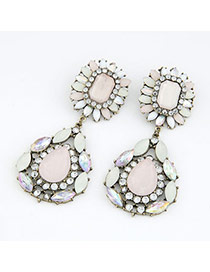 Famale Lead Black Pink Gemstone Water Drop Ribbon Alloy Korean Earrings