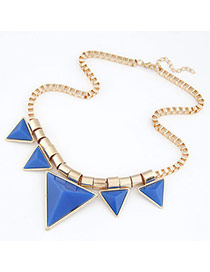 Famale Blue Triangle Alloy Resin Bib Necklaces