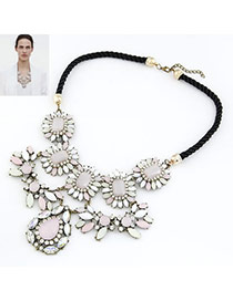 Hiking Brown Gemstone Decorated Geometrical Shape Design Alloy Bib Necklaces
