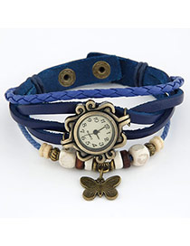 Quality Blue Butterfly Pendant Multilayer Design Alloy Ladies Watches