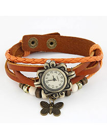 Simple Orange Butterfly Pendant Multilayer Design Alloy Ladies Watches