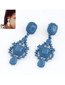 Native Dark Blue Fluorescence Color Design Alloy Stud Earrings