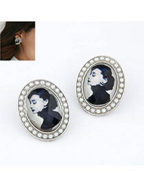 white simple beautiful woman pattern alloy Stud Earrings