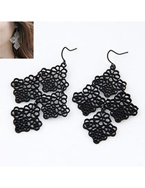 black hollow Four Leaf Clover alloy Korean Earrings