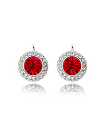 Handmade Light Red Full Moon Design Alloy Crystal Earrings