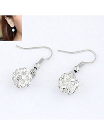 Sheer White Blink Ball Design Alloy Korean Earrings