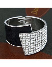 Initial Black Fanshaped 186 Gemstones Alloy Fashion Bangles