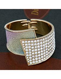 Collar Multicolor Fanshaped 186 Gemstones Alloy Fashion Bangles