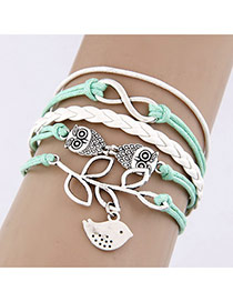 Wholesale Green Weave Multilayer Multi-element Design  Alloy Korean Fashion Bracelet