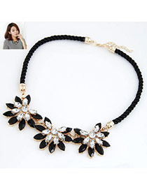 Exquisite Sapphire Blue Gemstone Decorated Simple Design Alloy Bib Necklaces