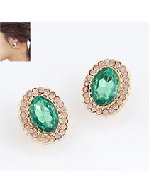 Tall Green Blink Circle Design Alloy Stud Earrings