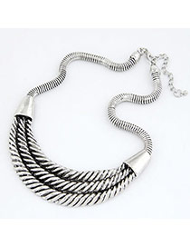 Elegant Silvery Color Crescent Moon Design Alloy Korean Necklaces