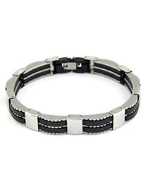 Liquid Silvery Color Simple Punk Design Stainless Steel Korean Fashion Bracelet