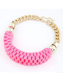 Caterpilla Pink Hand made Weave Design Alloy Korean Necklaces