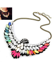 Rugged Multi Colour Eagle Shape Design Alloy Bib Necklaces