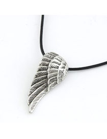 Dangle Antique Silver Color Vintage Angle Wing Pendant Titanium Bib Necklaces
