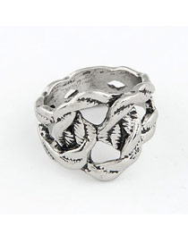 Bespoke Silver Color Vintage Weave Design Alloy Korean Rings