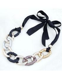 Lucky Multicolor Gradient  Chain Design Alloy Bib Necklaces