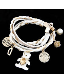 Sparking White Lovely Bear Multilayer Design Alloy Korean Fashion Bracelet