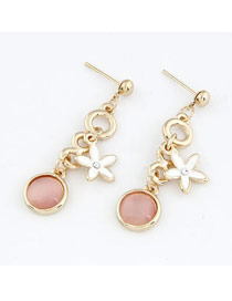 Square Pink Hollow Out 8 Shape Flower Design Alloy Stud Earrings