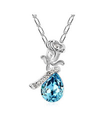 Infinity Sea Blue A Rose Shadow Fairy Tale Theme Austrian Crystal Crystal Necklaces