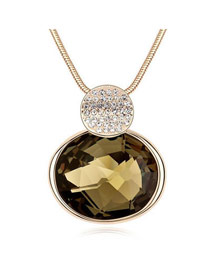 Maxi Black Oval Shape Pendant Glass Crystal Necklaces