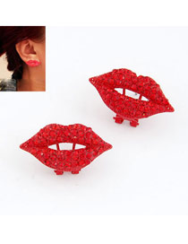 Plain Red Lip Decorated With Cz Diamond Design Alloy Stud Earrings