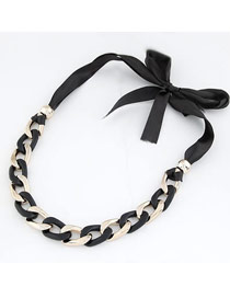 French Black Exaggerated Thick Chain Simple Design Alloy Bib Necklaces