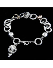 Hiking Silver Color Happiness Skull Pendant Alloy Fashion Bracelets