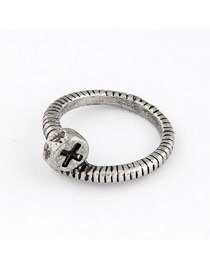 Hipster Silver Color Personality Cross-Cap Design Alloy Korean Rings