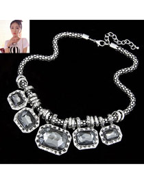 Satchel Gray Exaggerate Gorgeous Jewel Alloy Bib Necklaces