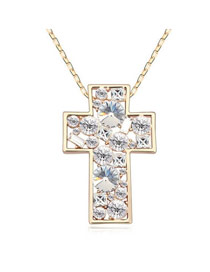 Exquisite White Shining Cross Pendant Austrian Crystal Crystal Necklaces