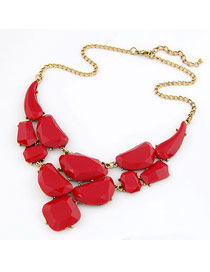 Skinny Red Matching Luxury Jewel Design Alloy Korean Necklaces