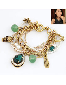 Fair Navy Blue Elegant All Matching Design Alloy Korean Fashion Bracelet