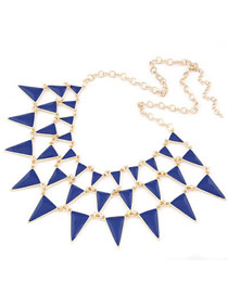 Screw Blue Elegant Triangle Shape Alloy Bib Necklaces