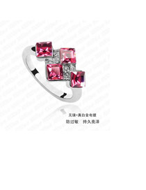 Active Plum Red Elegant Square Shape Alloy Crystal Rings