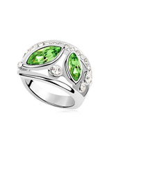 Statement Green Simple Double Gemstone Design Austrian Crystal Crystal Rings