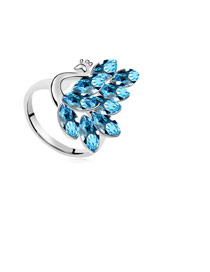 Toddler Dark Blue Peacock Shape Design Austrian Crystal Crystal Rings