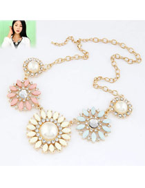 Expression Multicolor Flower Shape Design Alloy Bib Necklaces